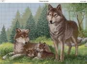 Схема для вышивки бисером на габардине Семья волков