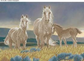 Схема для вышивки бисером на габардине Семья лошадей, , 70.00грн., А3-К-296, Acorns, Коты, бабочки, волки и птицы
