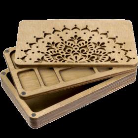 Органайзер для бисера многоярусный с деревянной крышкой FLZB-079