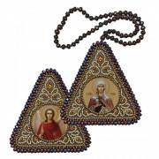 Набор для вышивания бисером двухсторонней иконы оберега Св. Мц. Татиана и Ангел Хранитель