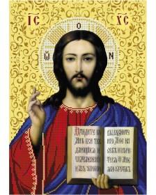 Схема вишивкі бісером на габардині Ісус Христос