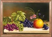 Схема для вышивки бисером на атласе Яблоко с виноградом