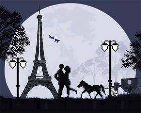 Схема для вышивки бисером на атласе Парижская весна