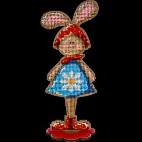 Набор для вышивки бисером по дереву Кролик Девочка
