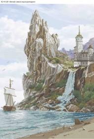 Схема для вышивки бисером на габардине Белый замок над водопадом Acorns А2-К-520 - 144.00грн.