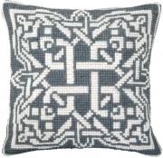 Набор для вышивки подушки крестиком Серый орнамент