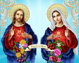 Схема для вышивки бисером на атласе Непорочное сердце Марии и Святое сердце Иисуса