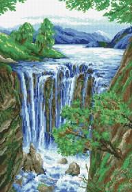 Набор для выкладки алмазной мозаикой Водопад, , 630.00грн., DM-045, DIAMONDMOSAIC, Пейзажи