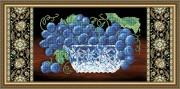 Схема вышивки бисером на габардине Хрусталь. Виноград на чёрном