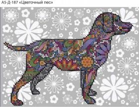 Схема для вышивки бисером на габардине Цветочный пес
