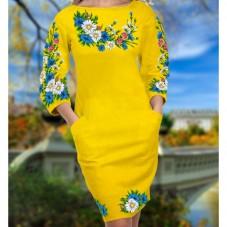 Заготовка для вишивки бісером чи нитками жіночого плаття на жовтому габардині  Biser-Art 6033 жовт габ