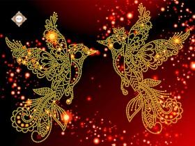 Схема вышивки бисером на атласе Райские птицы
