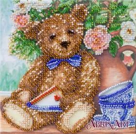 Набор-мини для вышивки бисером на натуральном художественном холсте Мишка-сладкоежка