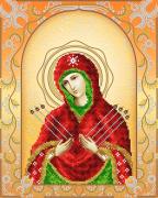 Схема для вышивки бисером на атласе Семистрельная Пресвятая Богородица (золото)