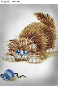 Схема для вышивки бисером на габардине Котик