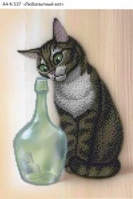 Схема для вышивки бисером на габардине Любопытный кот Acorns А4-К-537 - 45.00грн.