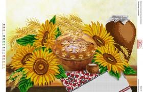 Схема для вышивки бисером на габардине Натюрморт з соняхами, , 90.00грн., БА2-157, Вишиванка, Большие схемы вышивки бисером