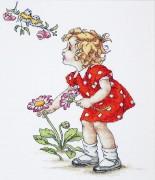 Набор для вышивки крестом Девочка в красном платье