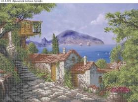 Схема для вышивки бисером на габардине Крымский пейзаж. Гурзуф, , 70.00грн., А3-К-309, Acorns, Пейзажи и натюрморты