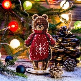 Набор для вышивки бисером по дереву Мишка в красном свитере  Волшебная страна FLK-240 - 243.00грн.