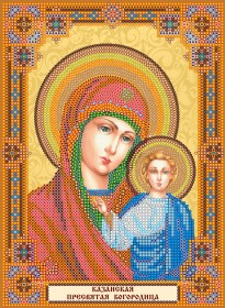 Схема для вышивки бисером на холсте Домашний иконостас Богородица