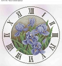 Схема для вышивки бисером на габардине Часы Синие Ирисы, , 70.00грн., А3-К-150, Acorns, Цветы