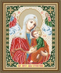 Схема вышивки бисером на авторской канве Страстная Образ Пресвятой Богородицы Art Solo VIA4268 - 45.00грн.