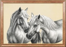 Схема для вышивки бисером на атласе Белые лошади