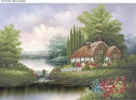 Схема для вышивки бисером на габардине Дом у реки, , 70.00грн., А3-К-320, Acorns, Пейзажи и натюрморты