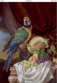 Схема для вышивки бисером на габардине Попугай
