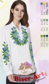 Заготовка вышиванки Женской сорочки на белом габардине Biser-Art SZ103 - 320.00грн.