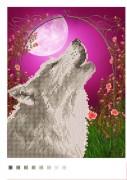 Схема вышивки бисером на габардине Волк