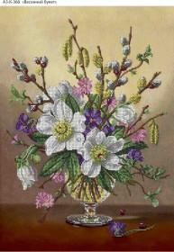 Схема для вышивки бисером на габардине Весенний букет, , 70.00грн., А3-К-360, Acorns, Цветы
