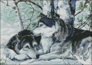 Схема вышивки бисером на габардине Пара вовків