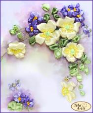 Набор для вышивки лентами Шиповник и фиалки Tela Artis (Тэла Артис) ЛН-003