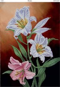 Схема для вышивки бисером на габардине Лилии, , 70.00грн., А3-К-227, Acorns, Цветы