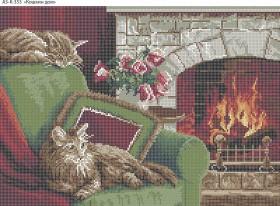 Схема для вышивки бисером на габардине Кошкин Дом, , 70.00грн., А3-К-353, Acorns, Коты, бабочки, волки и птицы