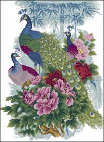 Схема вышивки бисером на атласе Павлины