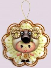 Набор для изготовления игрушки из фетра для вышивки бисером Овен