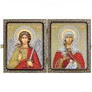 Набор для вышивки иконы в рамке-складне Св.Мц.Татьяна (Татиана)Римская и Ангел Хранитель