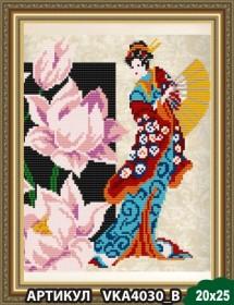 Рисунок на ткани для вышивки бисером Девушка с лотосом, , 55.00грн., VKA4030B, Art Solo, Наборы и схемы для вышивки бисером и нитками Восток