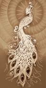 Схема вышивки бисером на габардине Жар-Птица