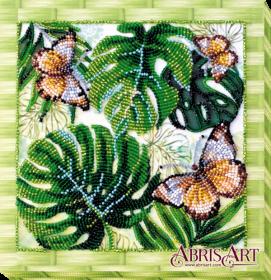 Набор-миди для вышивки бисером на натуральном художественном холсте Монстера