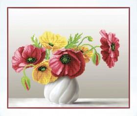 Набор для вышивки бисером Маки в белой вазе