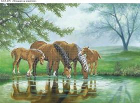 Схема для вышивки бисером на габардине Лошади на водопое, , 70.00грн., А3-К-295, Acorns, Коты, бабочки, волки и птицы
