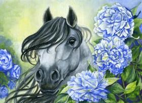 Набор для выкладки алмазной мозаикой Лошадь в цветах