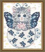 Схема вышивки бисером на габардине Котенок в бабочках
