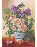 Схема вышивки бисером на габардине Цветочный день
