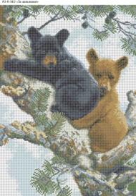 Схема для вышивки бисером на габардине За шишками, , 70.00грн., А3-К-382, Acorns, Коты, бабочки, волки и птицы
