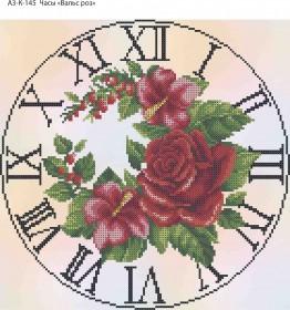Схема для вышивки бисером на габардине Часы Вальс Роз, , 70.00грн., А3-К-145, Acorns, Цветы